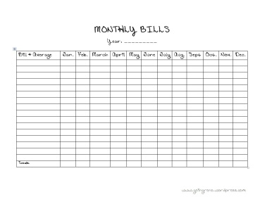 Monthly Bills