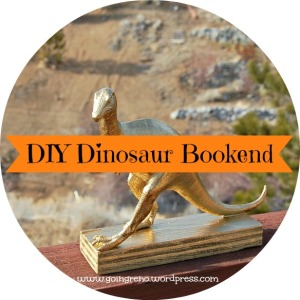 A plastic dino toy and a block of wood turn into the cutest bookend there ever was when you add gold spray paint!