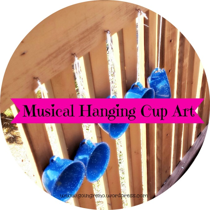 A few enameled  tin cups and some string turn into pretty, musical outdoor hanging art.