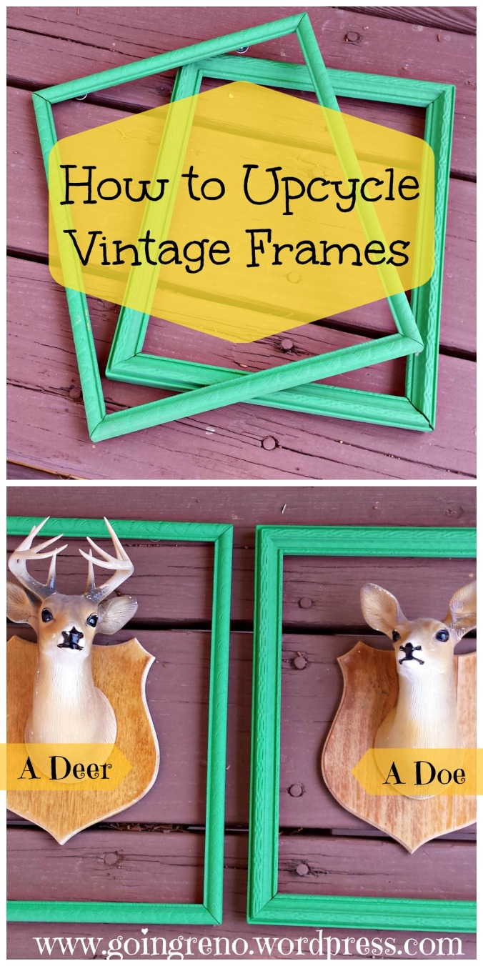 Upcycle Vintage frames with acrylic paint for a bright, fun look. (My little doe and deer love their new homes!)