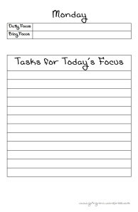 Daily Focus Pages for your C.H.a.O.S. Binder