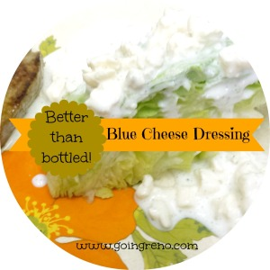 Only four ingredients needed for the best homemade blue cheese dressing ever!