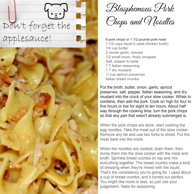 pork chops and noodles recipe card